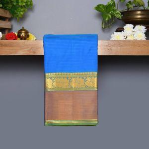 Sky Blue Coloured Kanchipuram Silk Saree with Light Green Colour Pallu