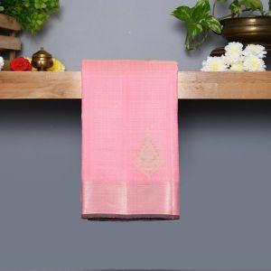 Baby Pink Coloured Kanchipuram Silk Saree With Silver Zari Pallu