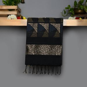 Black Coloured Soft Silk Saree with Golden Jari rich pallu.