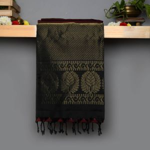 Reddish brown Coloured Soft Silk Saree With Contrast Black Pallu