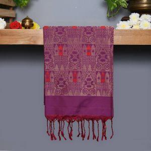 Purple Coloured Kanchipuram Silk Saree Silver Zari and Red thread pallu