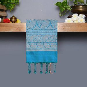 Dark Blue Coloured Kanchipuram Silk Saree With Turquoise Blue Pallu
