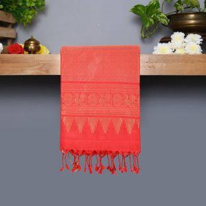 Checked Coloured Kanchipuram Silk Saree With Red Pallu