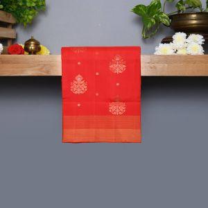 Red Coloured Kanchipuram Silk Saree With Copper Zari Pallu
