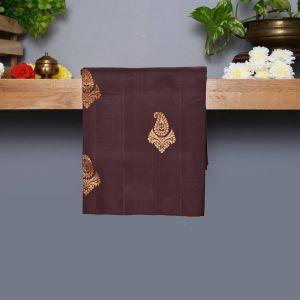 Brown Coloured Kanchipuram Silk Saree With Khaki Pallu
