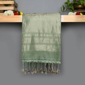 Pista green Coloured Soft Silk Saree
