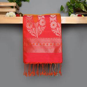 Musturd Coloured Soft Silk Saree with Contrast Orangish Pink Pallu.