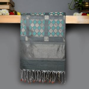 Silver grey Coloured Soft Silk Saree jute work Saree.