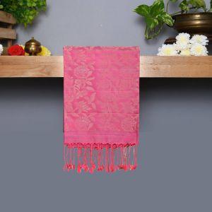 Ash Gray Coloured Kanchipuram Silk Saree With Rose Pink Pallu