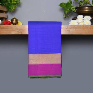 Blue coloured Kanchipuram Silk Saree with Contrast Purple Colour Pallu