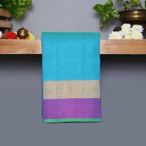 Safer Blue Coloured Kanchipuram Silk Saree with Light Purple Colour Pallu