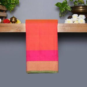 Dark Peach Coloured Kanchipuram Silk Saree with Contrast Pink Colour Pallu