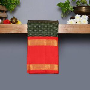 Dark Green Coloured Kanchipuram Silk Saree With Red Pallu