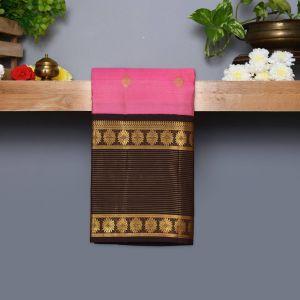 Lotus Pink Coloured Kanchipuram Silk Saree With Dark Brown Pallu