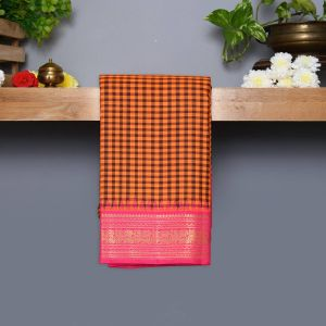 Orange And Coffee Brown Coloured Kanchipuram Silk Saree With Pink Pallu