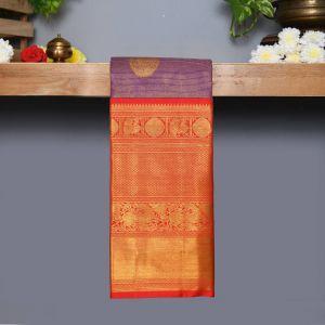 violet Coloured Kanchipuram Silk Saree With Red Pallu