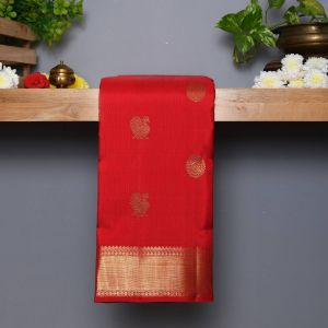 Red Coloured Kanchipuram Traditional  Silk Saree
