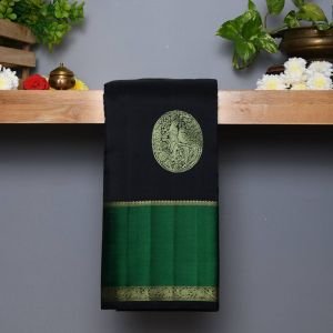 Black Coloured Kanchipuram Silk  Saree With Contrast Green Border