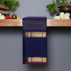 Royal Blue Coloured Kanchipuram  Silk  Saree With Contrast Rani Pink Blouse