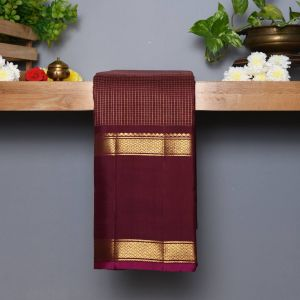 Brown Coloured Kanchipuram  Silk  Saree With Contrast Rani Pink  Blouse