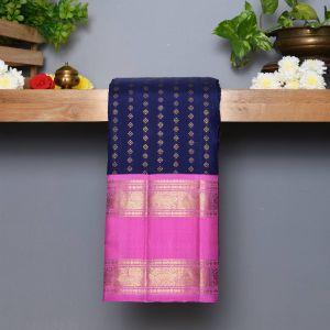 Navy Blue Coloured Kanchipuram  Silk  Saree With Contrast  Baby Pink Pallu