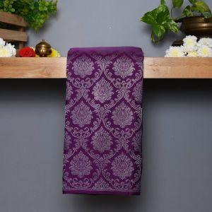 Purple  Coloured Kanchipuram Silk  Saree With Contrast Pastel Peach Pallu