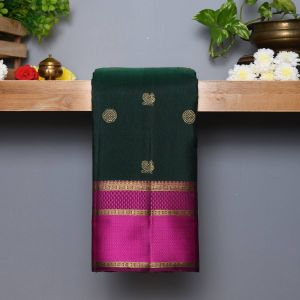 Bottle Green Coloured Kanchipuram Silk Saree with Contrast Wine Colour pallu