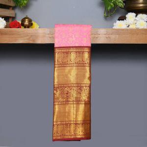 Pastel Pink Coloured Kanchipuram Silk Saree With Brown Pallu