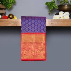 violet Coloured Kanchipuram Silk Saree With Pink Pallu