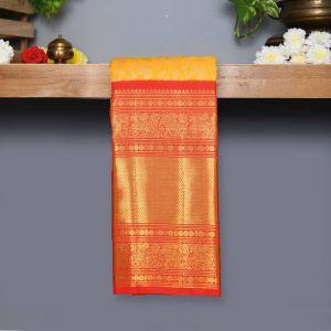 Lemon Yellow Coloured Kanchipuram Silk Saree With Red Pallu