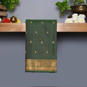 Bottle Green Coloured Kanchipuram Silk Saree With Golden Zari Pallu