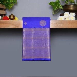 Ink blue Coloured Kanchipuram Silk Saree With Golden Zari Pallu