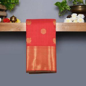 Arakku Coloured Kanchipuram Silk Saree With Golden Zari Pallu