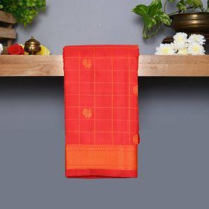Red Coloured Kanchipuram Silk Saree With Orange thread pallu