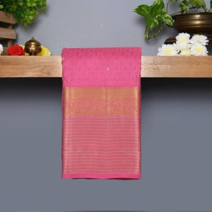 Rose Pink Coloured Kanchipuram Silk Saree With Silver Zari Pallu