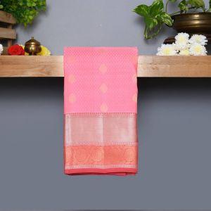 Baby Pink Coloured Kanchipuram Silk Saree With Rosewood contrast Pallu