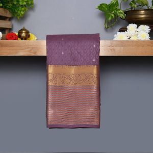 Pastel Gray Coloured Kanchipuram Silk Saree With Silver Zari Pallu