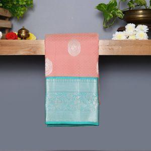 Plaster Brown Coloured Kanchipuram Silk Saree With Sapphire Pallu