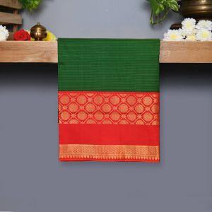 Green Coloured Kanchipuram Silk Saree With Red Pallu
