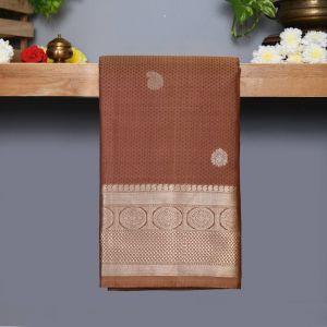 Light coffee brown Coloured Kanchipuram Silk Saree With Silver Zari Pallu