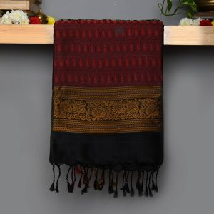 Black Coloured Soft Silk Saree with All over Thread work Saree.