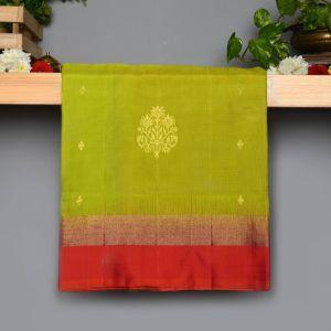 Sampangi Green Colour Kanchipuram Soft  Silk  with  Contrast Rust Pink Colour Blouse