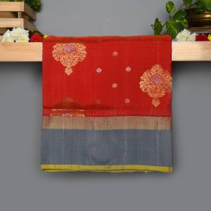 Orange and Arraku Colour Kanchipuram Soft Silk with Contrast Gray colour Blouse