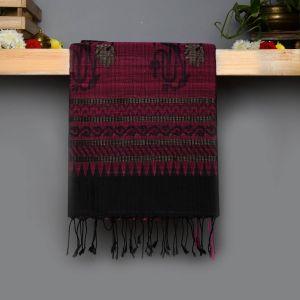 Black Coloured Soft Silk Saree with jute work Contrast Rose Pallu.