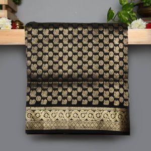Black Colour Kanchipuram Soft Silk with Zari Brocade Saree