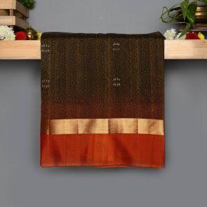 Black  Colour Kanchipuram Soft  Silk  with Contrast Dark Orange colour Blouse