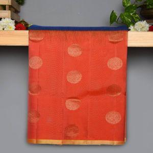Peacock blue Colour Kanchipuram Soft  Silk  with Contrast Peach colour Blouse