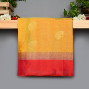 Yellow colour Kanchipuram Soft  Silk  with  Contrast Peach Pink Colour Blouse