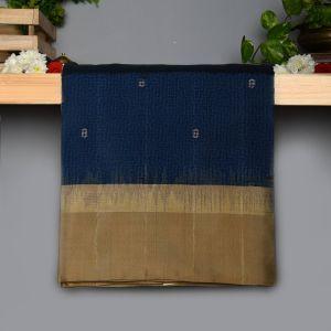 Navy blue Colour Kanchipuram Soft  Silk  with Contrast Dark Beige colour Blouse