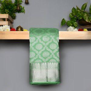 Rexona Green Coloured  Kanchipuram Pure Silk  Silver Zari  Saree